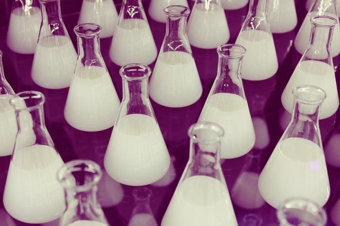 milky bottles in the lab